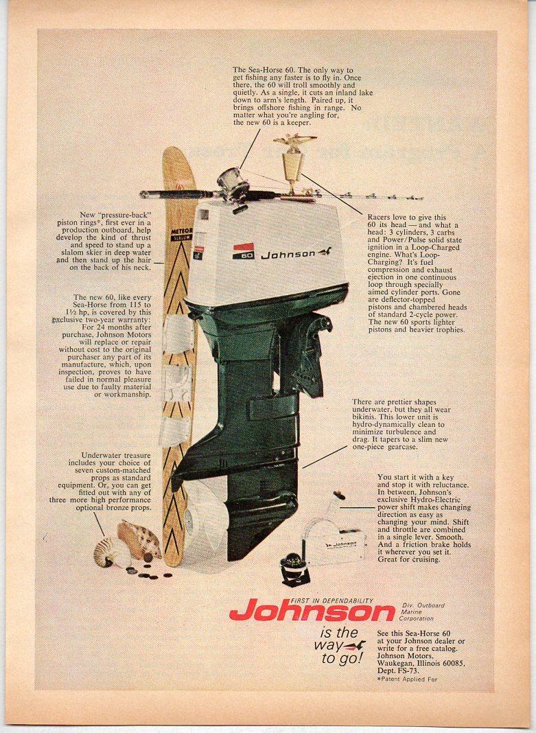 1970 Vintage Ad Johnson Sea Horse 60