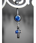 BELLY NAVEL RING BLUE SAPPHIRE CRYSTAL CROSS #525A - $7.99