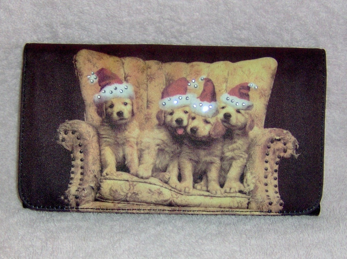 Golden Retriever with Santa Hats Pocketbook Wallet Clutch