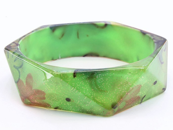 Bangle green flower lucite square bracelet costume jewelry girl fashion fun