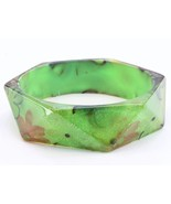 Bangle green flower lucite square bracelet cost... - $10.88