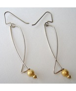 Contemporary Sterling Silver Wire Earrings Gold... - $55.00