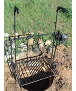 Wrought Iron Hand Forged  Adjustable Camp Fire Grill  
