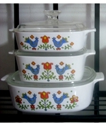 Corning Ware Country Festival 6-Pc Sq Set A2B Pyroceram USA - $45.00