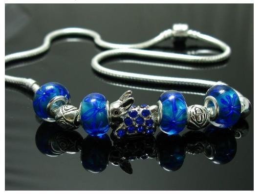 Stamped Pandora Round Silver Necklace Blue Beads Bunny