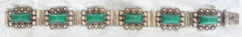 Ancient Civ 40s Green Stone Sterling Mexican Bracelet
