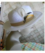 Fedora white weave feather cool summer hat Gats... - $16.00