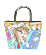 Bucket Bag Purse from funny Art painting Cat 50... - $29.99