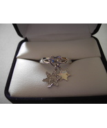 10k W Gold Diamond Dangle Ring Star Charms 1/10ctw 3.1grams