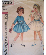 Simplicity 4715 Vintage 50s Pattern Girls 5 Flo... - $16.95