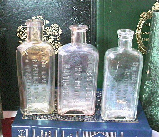 Antique Medicine Bottle Set Clear Pearlized Glass Cod Liver Dr Hair's Asthma