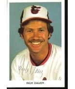 Rich Dauer Autographed Baltimore Orioles Postca... - $5.99