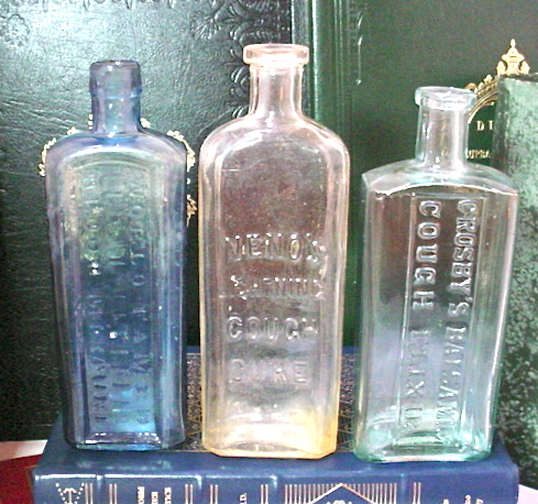 Antique Medicine Bottles BlueAqua & Clear Glass Blood Mixture Cough Cure Elixir