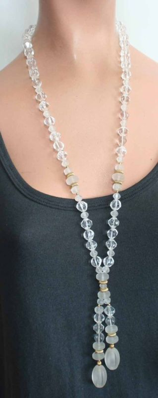 Art Moderne 80s Stunning Crystal Plastic Necklace
