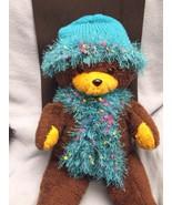 Handknit Hat Scarf Turquoise Set Acrylic Fun Fur  - $12.50