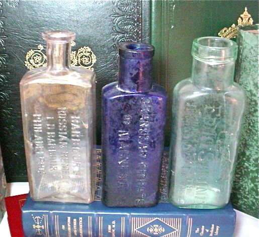 Antique Medicine Bottle 3 of Set Embossed Blue Amethyst Green Glass