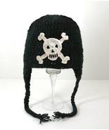 Skull Earflap Hat, Handmade Black  Crochet Bean... - $33.00