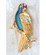 Avon Art Moderne Rhinestone Enamel Parrot Brooch - $19.95