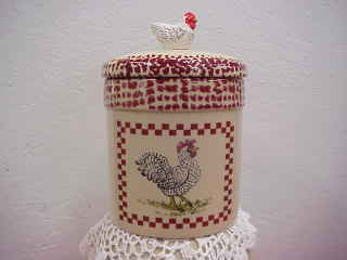 Speckled Chicken Stoneware Cookie Jar