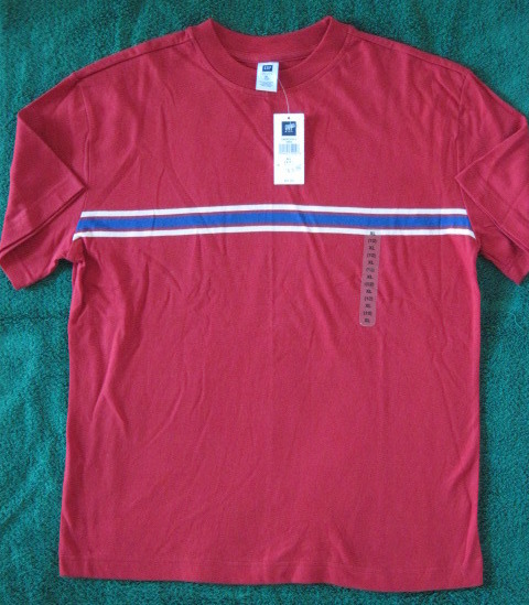 Gap Kids Boys Red Stripe Cotton Tee Shirt Size XL 12 New