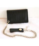 Black Leather Tri-Fold Wallet Weave Embossed Xl... - $27.99