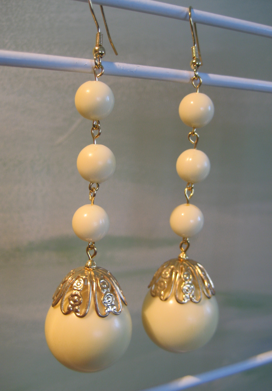 Extra Long Cream Handcrafted Dangle Earrings Lucite Beads