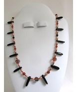 Copper, Glass Bead, Onyx & Carnelian Necklace, ... - $35.00