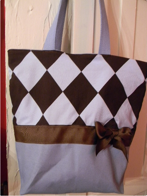 Blue & Brown Argyle Handmade Purse, Tote, or Diaperbag