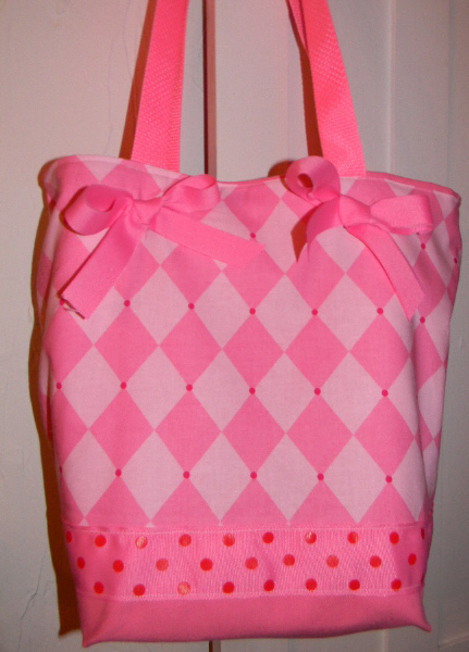 *SALE*Pink Princess Argyle HARLEQUIN BAG Purse - Tote