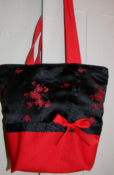 SALE Black   Red Satin Asian Brocade Purse  Tote BAG