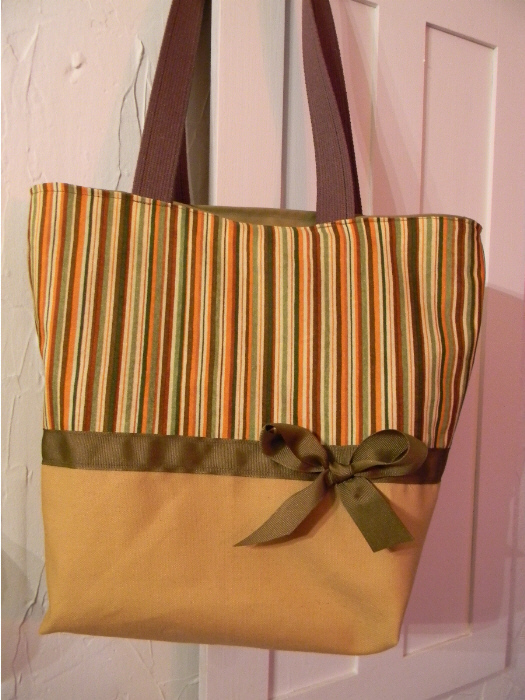 Butternut Ginger Fancy Stripe Purse -Tote