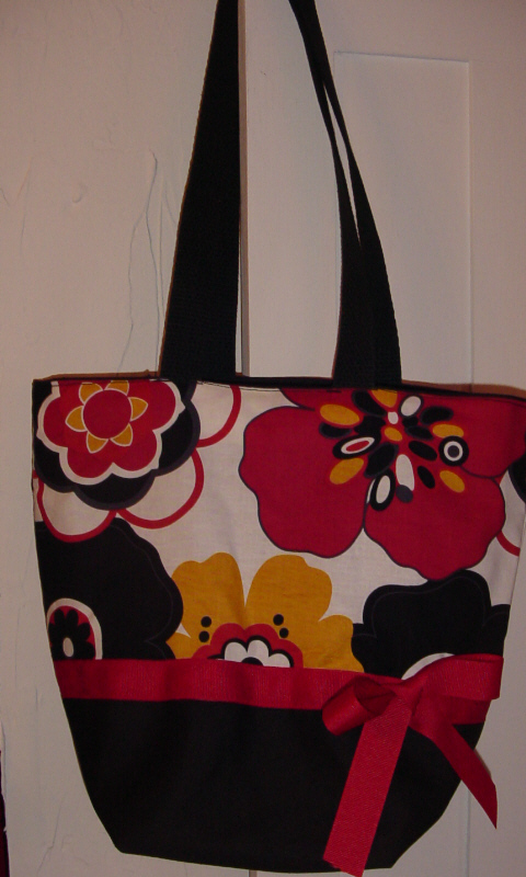 *SALE*Red & Black Retro Bold Cleo Flowers BAG Purse - Tote
