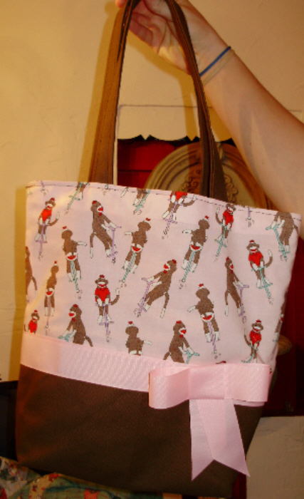 Pink & Brown Pogo Stick Sock Monkey BAG Purse -Tote