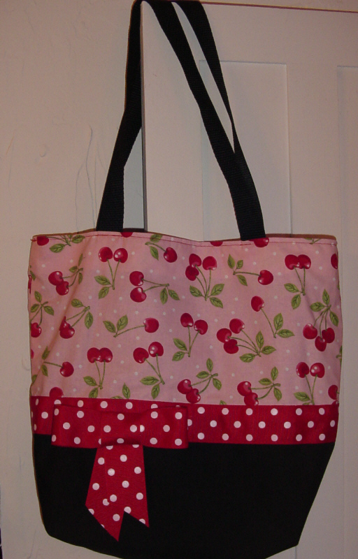 *SALE*Pink & Red Retro Shabby CHERRIES BAG Purse -Tote