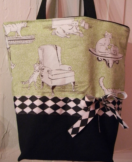 *SALE* Green Argyle Mischief Cats Kittens Retro BAG Pur