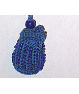 OOAK Blue Crocheted Amulet Bag w/ Blue Glass Beads - $9.00