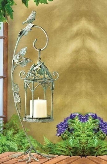 Iron Bird Cage Lamp Lantern with Vine Leaf Stand Pillar Votive Candle Holder
