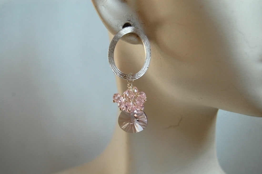 Concave cut pink Amethyst and pink quartz cluster earrings