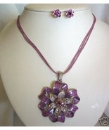 Purple Enamel Rhinestone Ribbon Earring Set Clip - $8.00