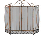 Buy 3 Panel Venetian Bronze Fireplace Screen With Bowed Bar Scro