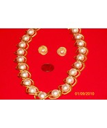 Goldtone and Pearl Necklace and Pierced Earring... - $29.95