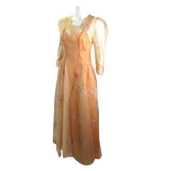VTG 1930s SHEER EMBROIDERED ORGANZA LONG GOWN