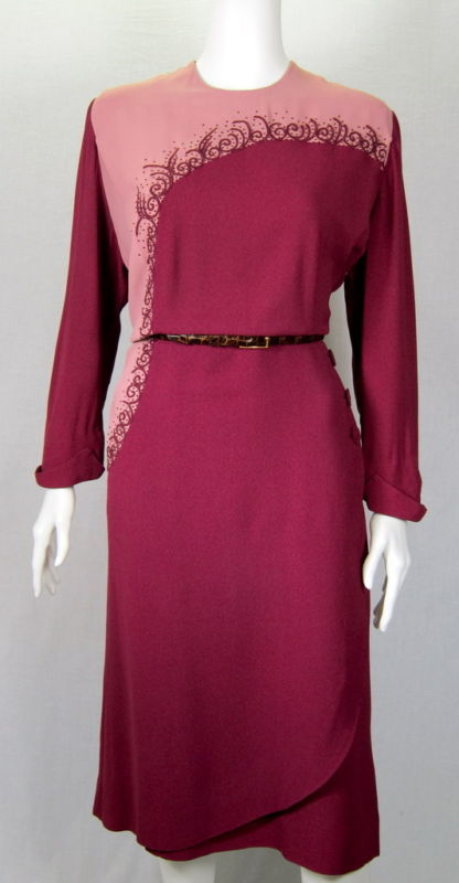 VTG 1940 Maroon Mauve applique copper beads dress XL