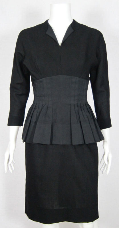 VTG 1940s BLACK DRESS W PLEATED PEPLUM FILM NOIR