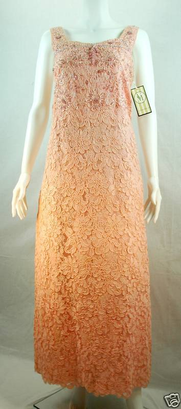 VTG 1950 PEACH  FLORAL LACE SEQUIN PARTY WEDDING DRESS