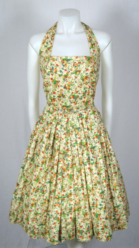 VTG 1950s NOVELTY FOLK PRINT SUMMER HALTER DRESS w belt