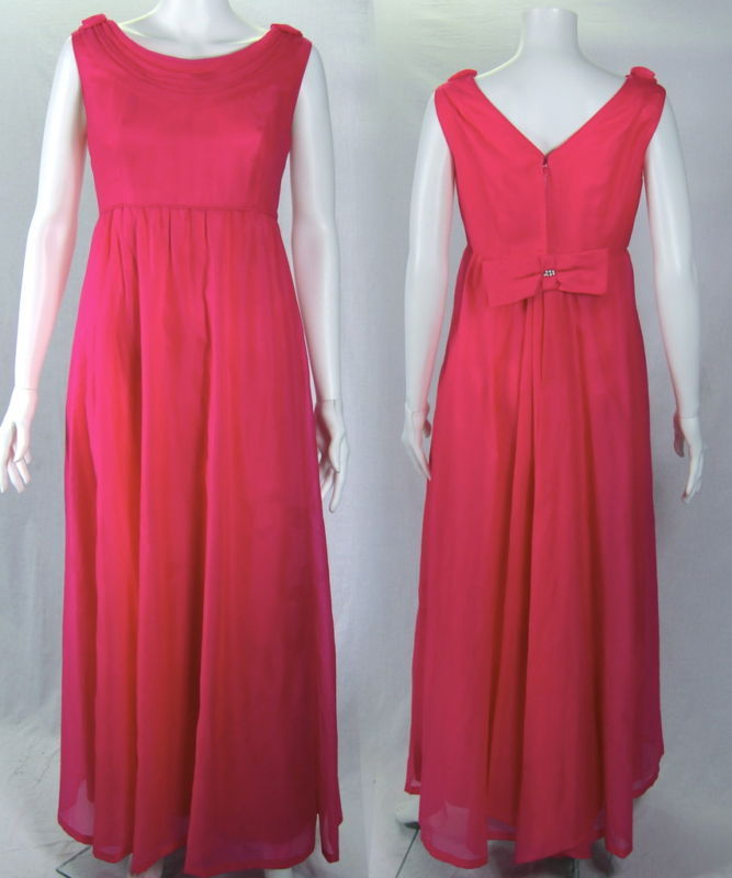 VTG 1960s HOT PINK CHIFFON LONG BACK BOW FORMAL DRESS
