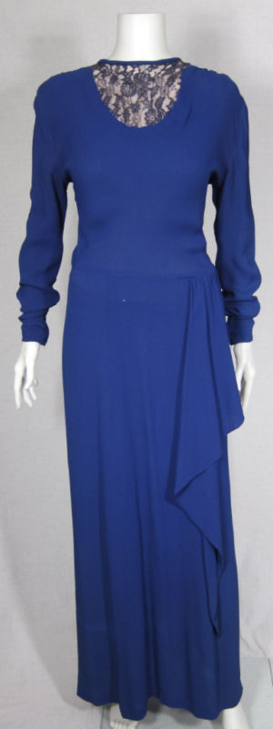 VTG 40s LONG BLUE EVENING DRESS W LACE & HIP DRAPE