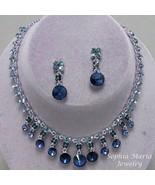 Blue Montana dangle crystal necklace earring se... - $22.77