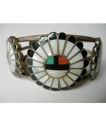 Vintage Zuni Bracelet Triple Sun Face Inlay Bra... - $375.00